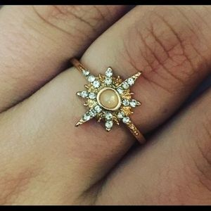 Jewelry - Statement Starburst Rose Gold Rhinestone Ring